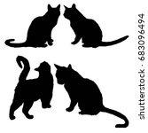 cat silhouette  vector...   Shutterstock .eps vector #683096494