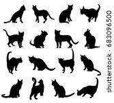 cat silhouettes  vector... | Shutterstock .eps vector #683096500
