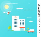 hospital flat building with...   Shutterstock .eps vector #683097850