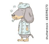 cute cartoon dachshund feeling...   Shutterstock .eps vector #683098270