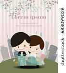 happy newlyweds  riding on... | Shutterstock .eps vector #683099026