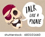 fun cartoon skull saying talk... | Shutterstock .eps vector #683101660