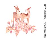 watercolor fawns love. hand... | Shutterstock . vector #683101768