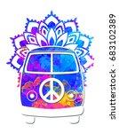 hippie vintage car a mini van... | Shutterstock .eps vector #683102389
