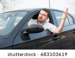 rude man driving his car and... | Shutterstock . vector #683103619