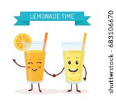 funny glasses with lemonade and ... | Shutterstock .eps vector #683106670