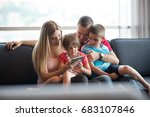 happy young family playing... | Shutterstock . vector #683107846