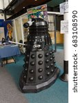 Small photo of Llangollen United Kingdom - July 23 2017: Full size Dalek display from the British TV series Doctor Who a adversary of the main hero of the programmes seen at a local comic and cosplay convention