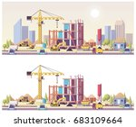 vector low poly building... | Shutterstock .eps vector #683109664