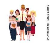 full length portrait of female... | Shutterstock .eps vector #683112859
