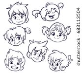cartoon child face icons....