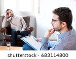 psychologist taking notes... | Shutterstock . vector #683114800