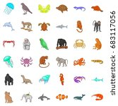 different animals icons set.... | Shutterstock .eps vector #683117056