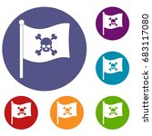 pirate flag icons set in flat... | Shutterstock .eps vector #683117080