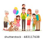 young parents  funny kids  cute ... | Shutterstock .eps vector #683117638