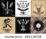 rock and roll forever logotype... | Shutterstock .eps vector #683118538