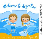 argentina   boy and girl with... | Shutterstock .eps vector #683122288