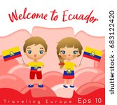 ecuador   boy and girl with... | Shutterstock .eps vector #683122420