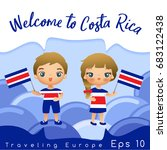 costa rica   boy and girl with... | Shutterstock .eps vector #683122438