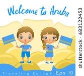 aruba   boy and girl with...   Shutterstock .eps vector #683122453