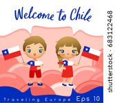 chile   boy and girl with... | Shutterstock .eps vector #683122468