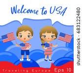 usa   boy and girl with... | Shutterstock .eps vector #683122480