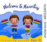 mauritius   boy and girl with... | Shutterstock .eps vector #683123074