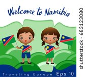 namibia   boy and girl with... | Shutterstock .eps vector #683123080