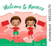 morocco   boy and girl with... | Shutterstock .eps vector #683123170