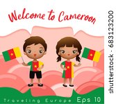 cameroon   boy and girl with... | Shutterstock .eps vector #683123200