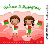 madagascar   boy and girl with... | Shutterstock .eps vector #683123218