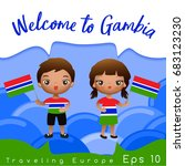 gambia   boy and girl with... | Shutterstock .eps vector #683123230