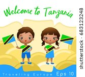 tanzania   boy and girl with... | Shutterstock .eps vector #683123248