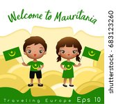 mauritania   boy and girl with... | Shutterstock .eps vector #683123260