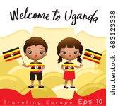 uganda   boy and girl with... | Shutterstock .eps vector #683123338