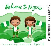 nigeria   boy and girl with... | Shutterstock .eps vector #683123440