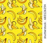 banana seamless pattern. exotic ... | Shutterstock .eps vector #683126254