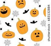 cartoon cute halloween pumpkins ... | Shutterstock .eps vector #683132884