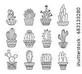 hand drawn sketch  cactus set.... | Shutterstock . vector #683133280