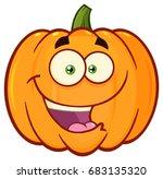 happy orange pumpkin vegetables ... | Shutterstock . vector #683135320
