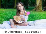 little girl with straw  hat and ... | Shutterstock . vector #683140684