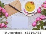 vintage mockup. blank paper and ... | Shutterstock . vector #683141488