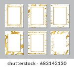 set of white and gold flyers....   Shutterstock .eps vector #683142130