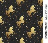 unicorn silhouette seamless... | Shutterstock . vector #683144653