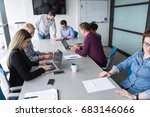 business team meeting in modern ... | Shutterstock . vector #683146066