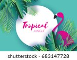 trendy summer tropical palm... | Shutterstock .eps vector #683147728