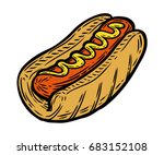 hot dog sausage with mustard in ... | Shutterstock . vector #683152108