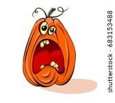 halloween pumpkin scared vector ... | Shutterstock .eps vector #683153488