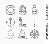 set of objects on marine theme... | Shutterstock .eps vector #683155150
