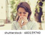 woman with allergy symptoms... | Shutterstock . vector #683159740